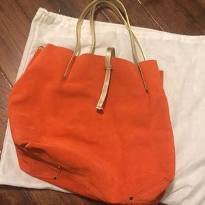 Tiffany & Co Suede large reversible coral tote